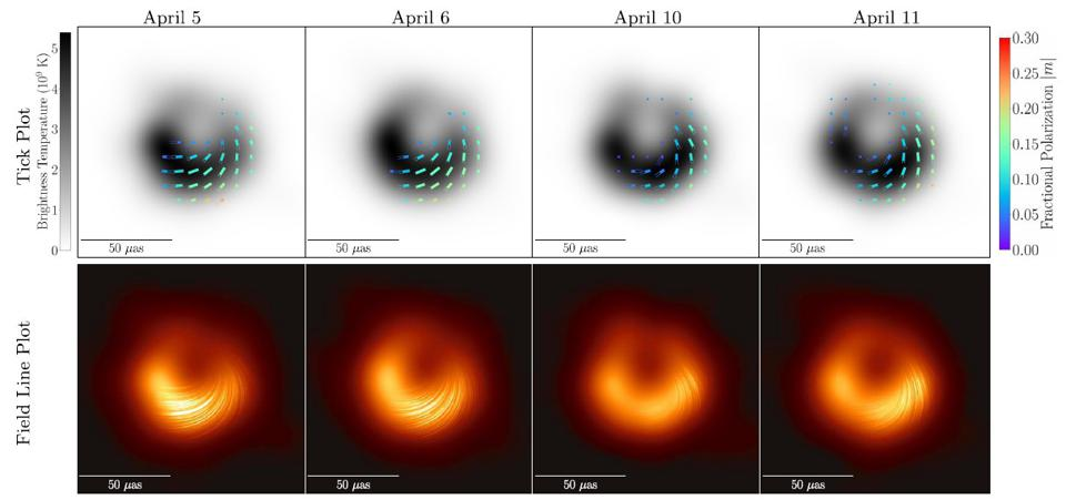 This 8-panel black hole image shows inferred polarization and the reconstructed photons.