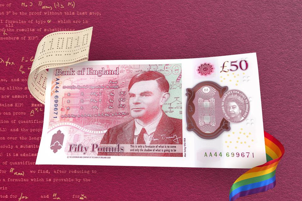 Alan Turing on the £50 note with a rainbow ribbon