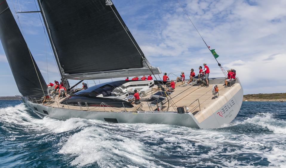 Paola and Salvatore Trifirò  race their 108-foot-long sailing yacht Ribelle.