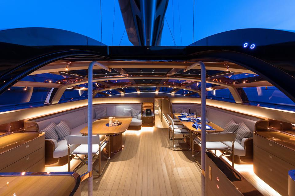 The spectacular interior of the 108-foot-long sailing yacht Ribelle.