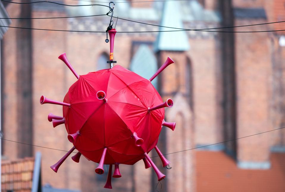 Coronavirus  balloon hanging in German shopping center.