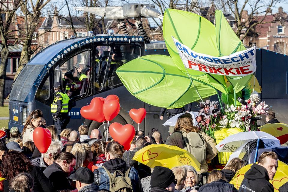 Anti coronavirus protest in Amsterdam