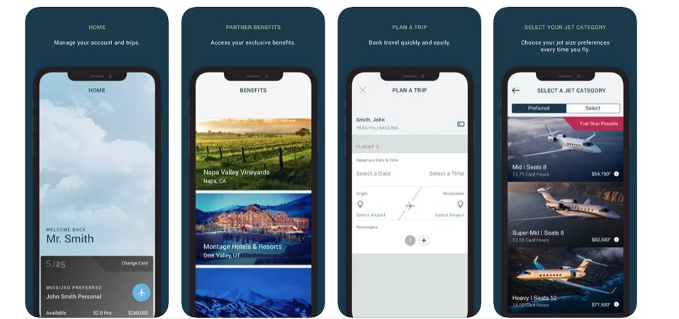 Screen shots from Sentient Jet's mobile app
