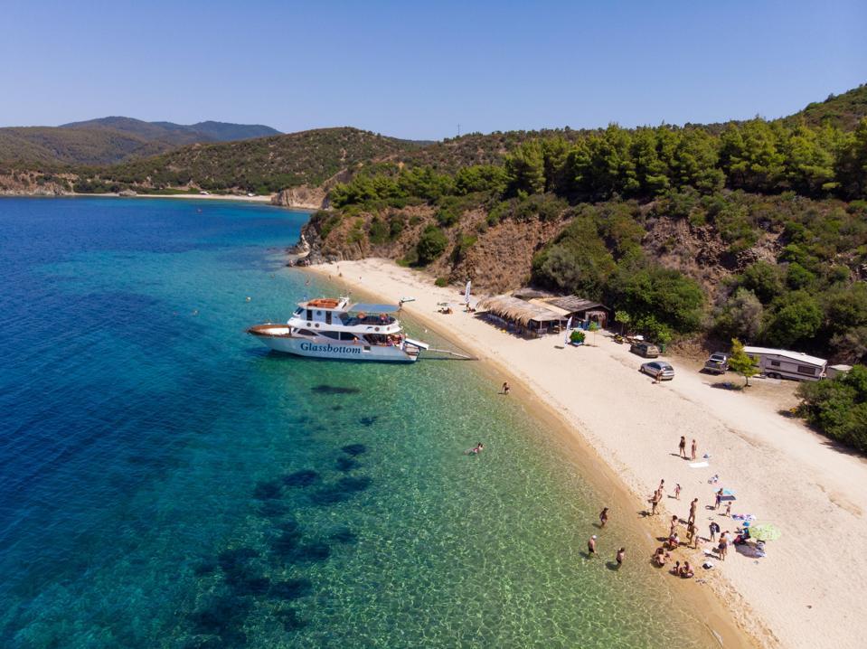 Few tourists on beautiful Greek beach near Thessaloniki