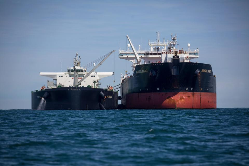 Oil Tankers Anchored Off The U.K. Coast While Investors Weigh Recovery