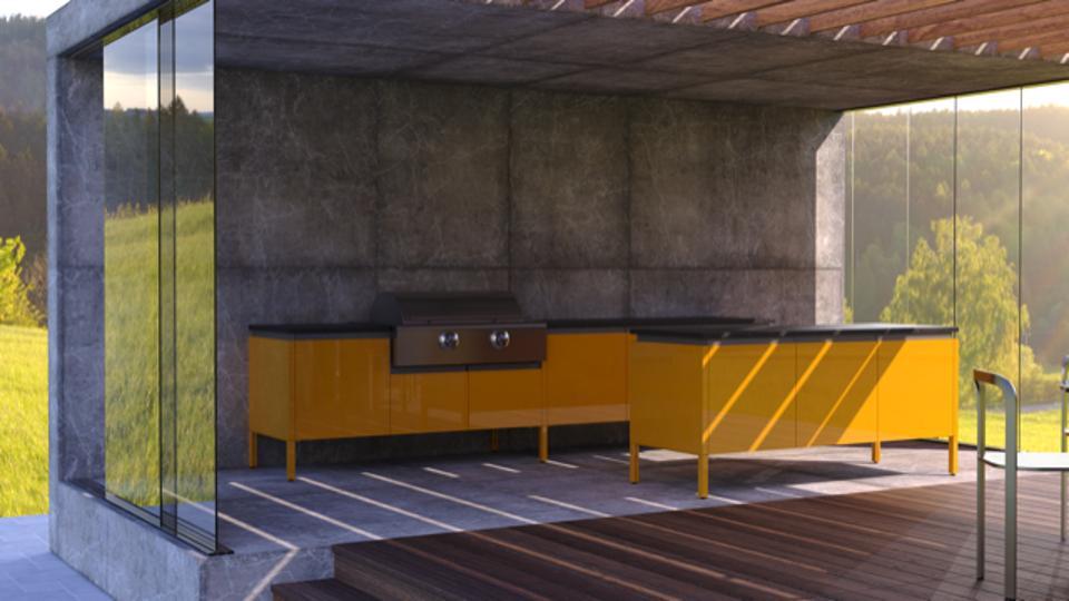 Goldenrod yellow outdoor kitchen