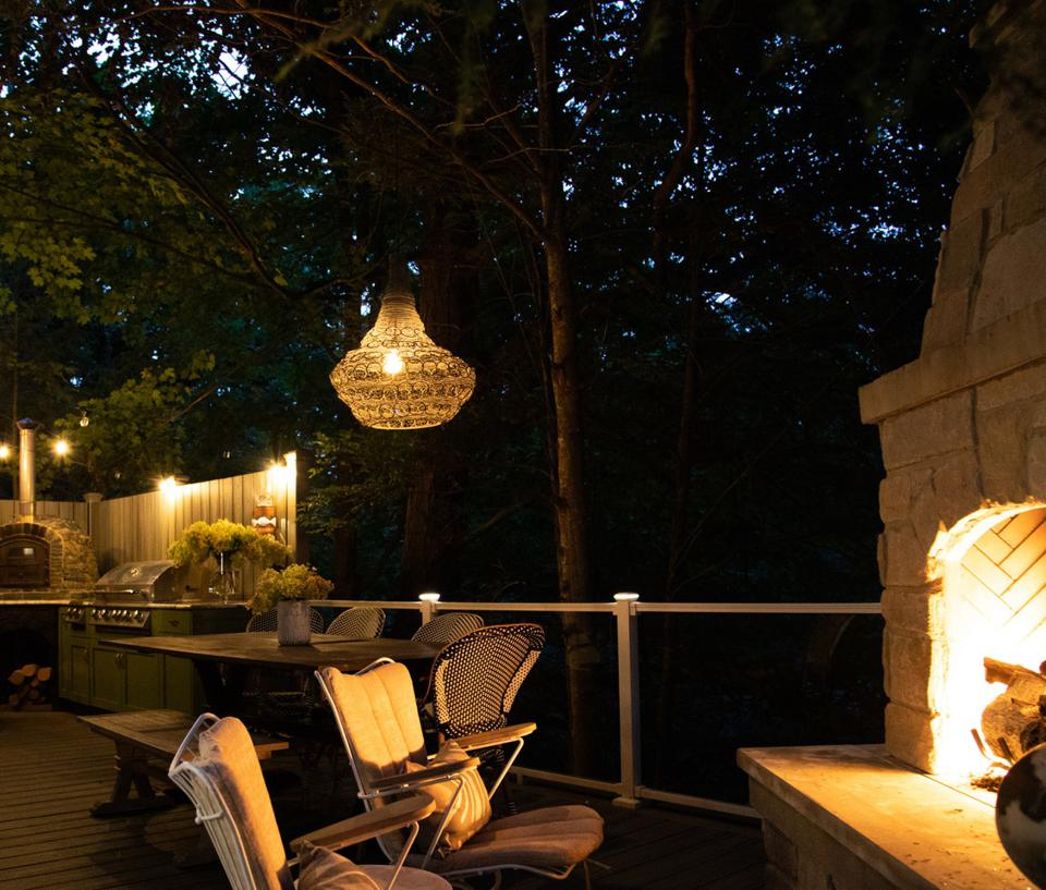 Fireplace and lights in the evening outdoors