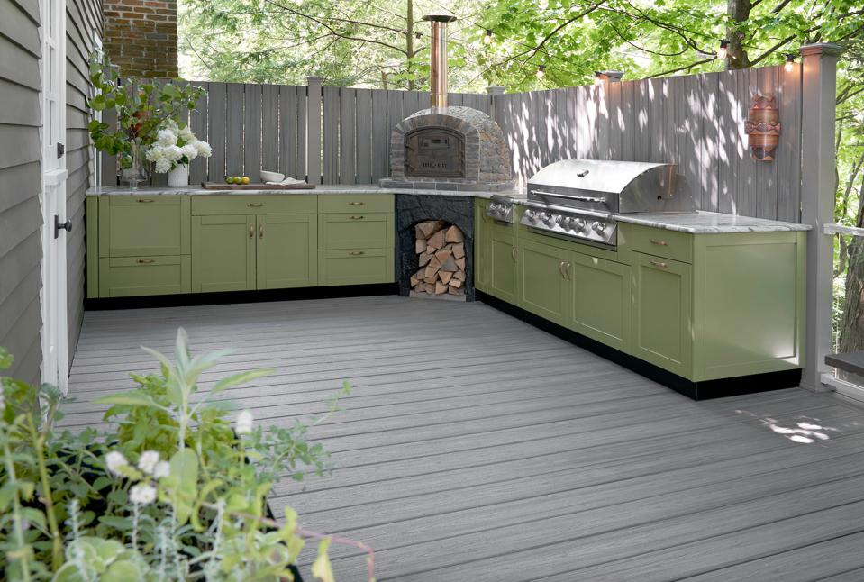 Green kitchen on a deck