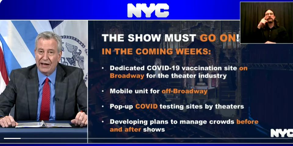 Screen grab from De Blasio's theater vaccination announcement