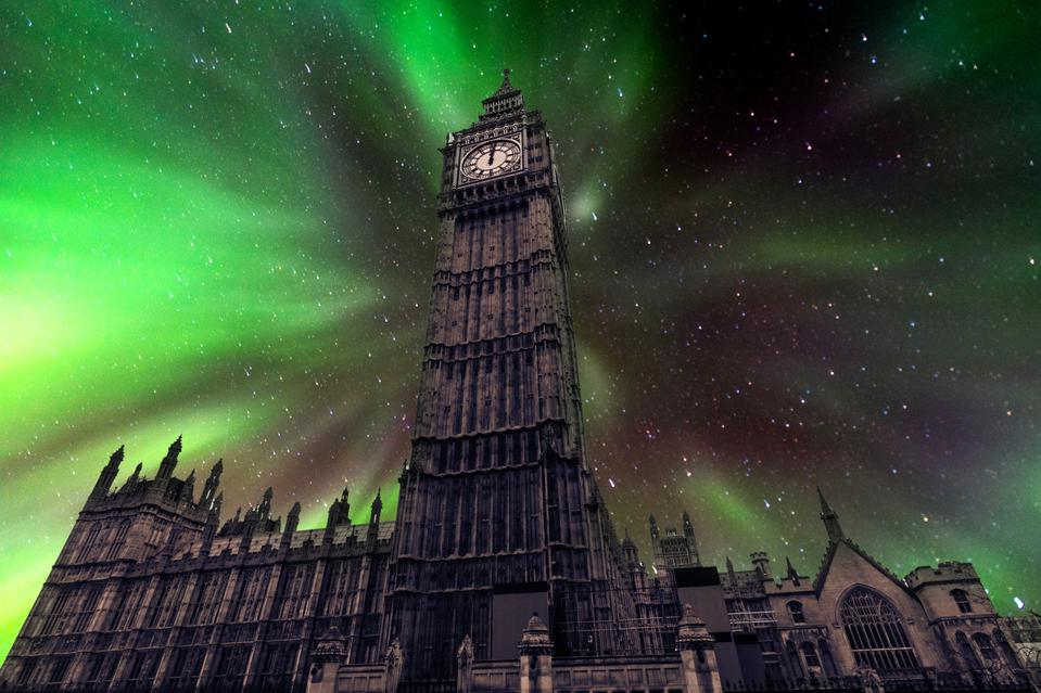 In this mock-up you can see northern Lights over Big Ben and London.