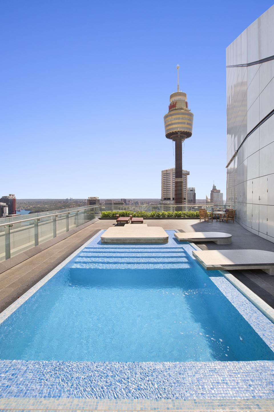 swimming pool at boyd penthouse residence sydney australia anz tower