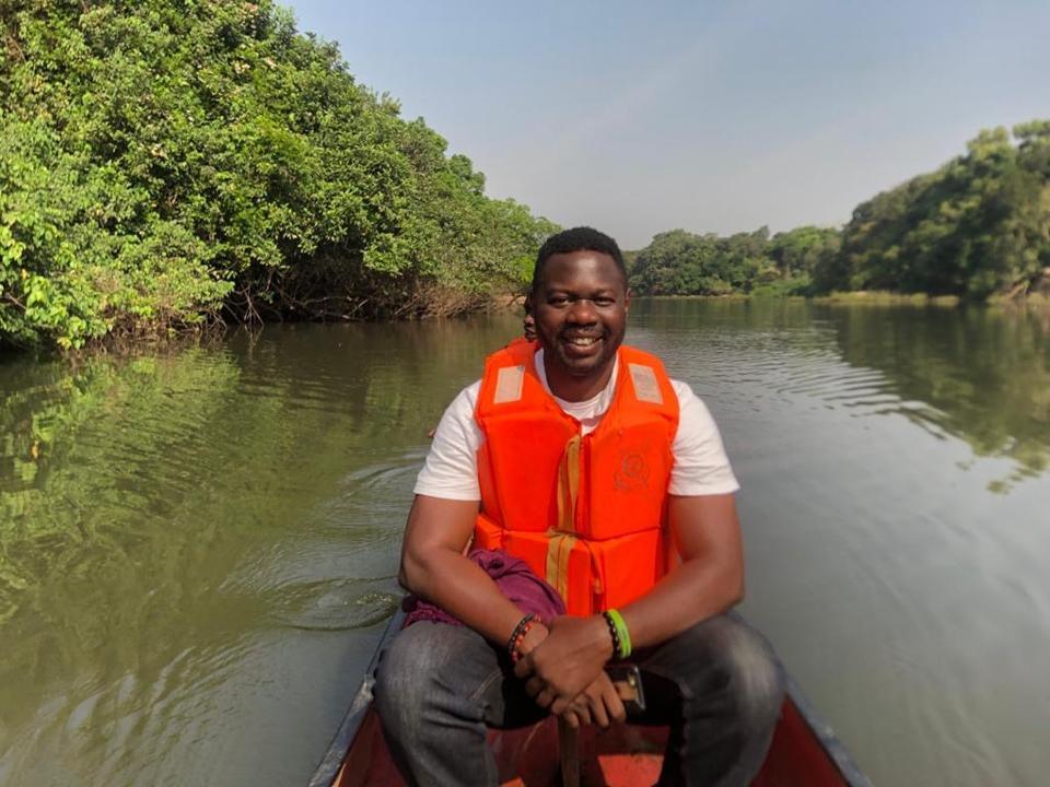 Alhaji N'Jai doing Environmental Health Research at Outamba-Kilimi National Park.
