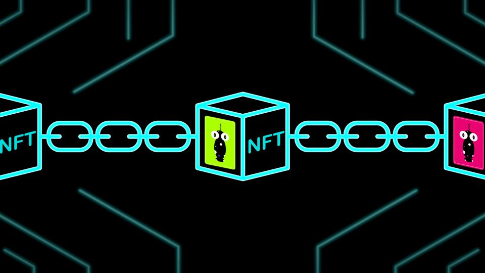 NFT non-fungible tokens art and collectables illustration, use blockchain technology to create unique digital items for crypto art, crypto-collectibles and crypto-gaming.