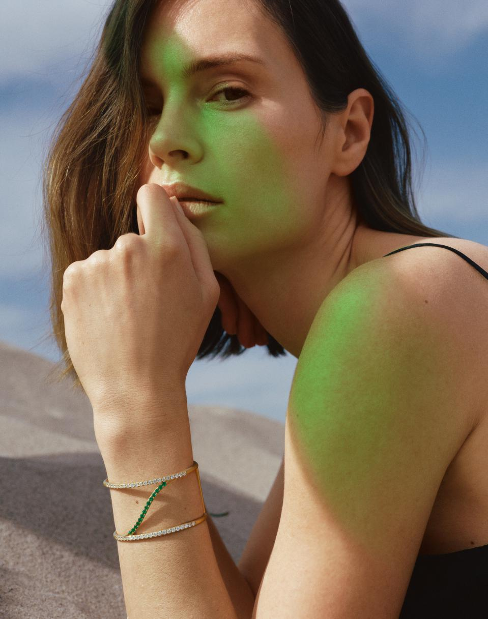 Sandy Leong x Gemfields Sol Collection Emerald and Diamond Sol Cuff