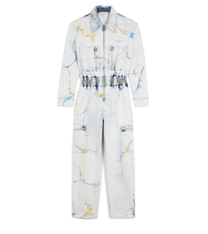 The Stella McCartney light blue, multicolor marble denim jumpsuit is a practical and unique jumpsuit for the Spring season. Made from COREVA® denim and featuring customizable Velcro cuff fastenings and zipper at the ankles for an individual and flattering fit.