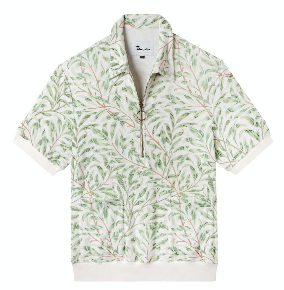 Each Earth Cabana shirt is made of the brand's signature terry-cloth and features a print by William Morris.