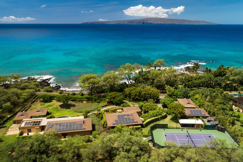 view of house tennis court and ocean 7155 Makena Road Maui, Hawaii