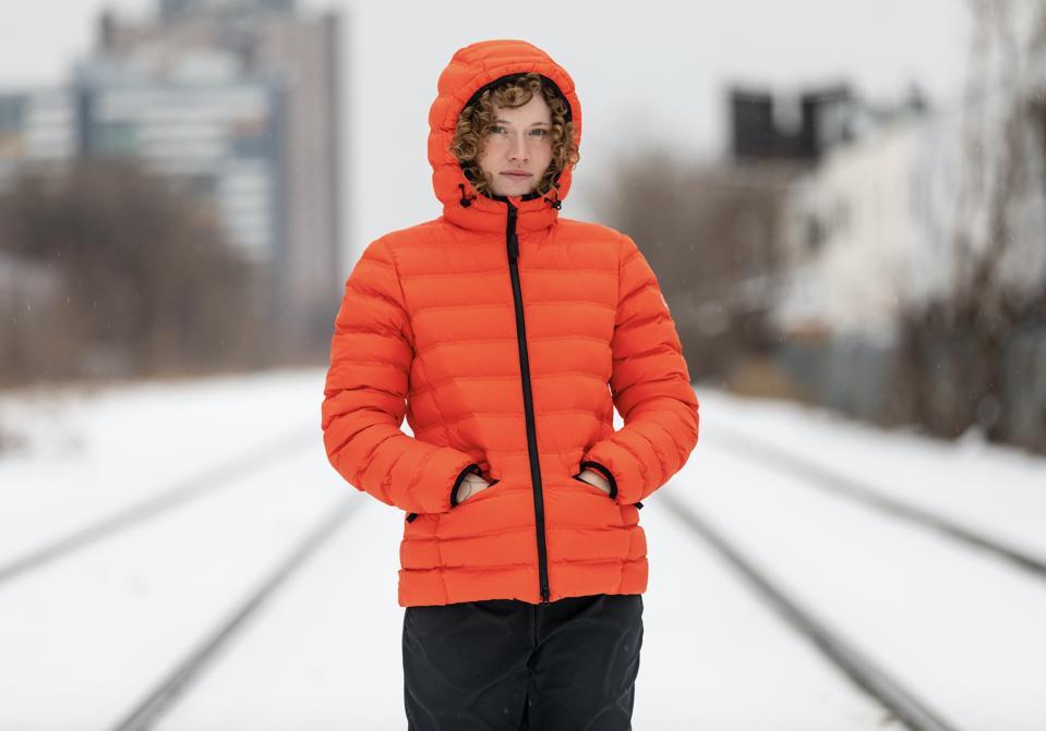 Wuxly Movements Greta coat in Lava Orange