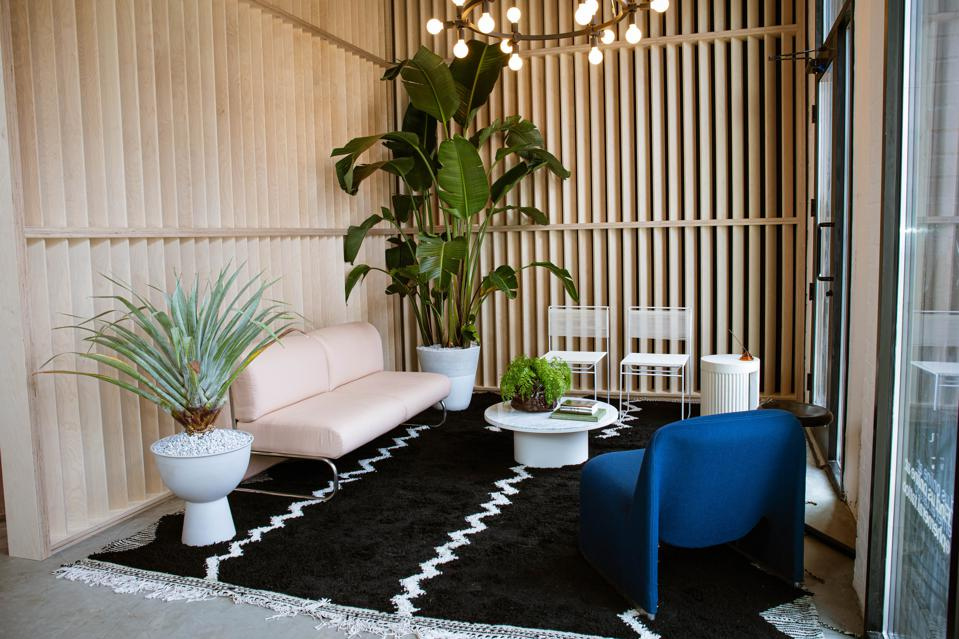 A beautiful waiting area at Ephemeral Tattoo with contemporary design.