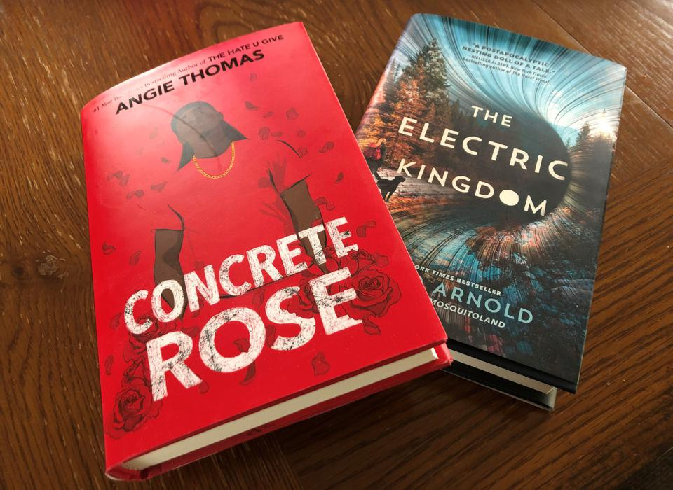 photo of Angie Thomas book Concrete Rose and David Arnold's the Electric Kingdom