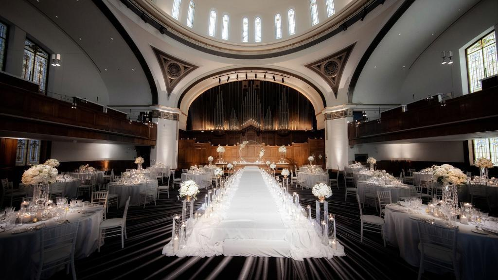 The century-old Sanctuary Grand Ballroom is suited for large-scale events, and these days, suited for wider spaces between tables.
