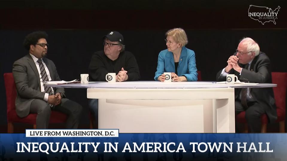 Town hall on inequality with Bernie Sanders, Elizabeth Warren, and Darrick Hamilton