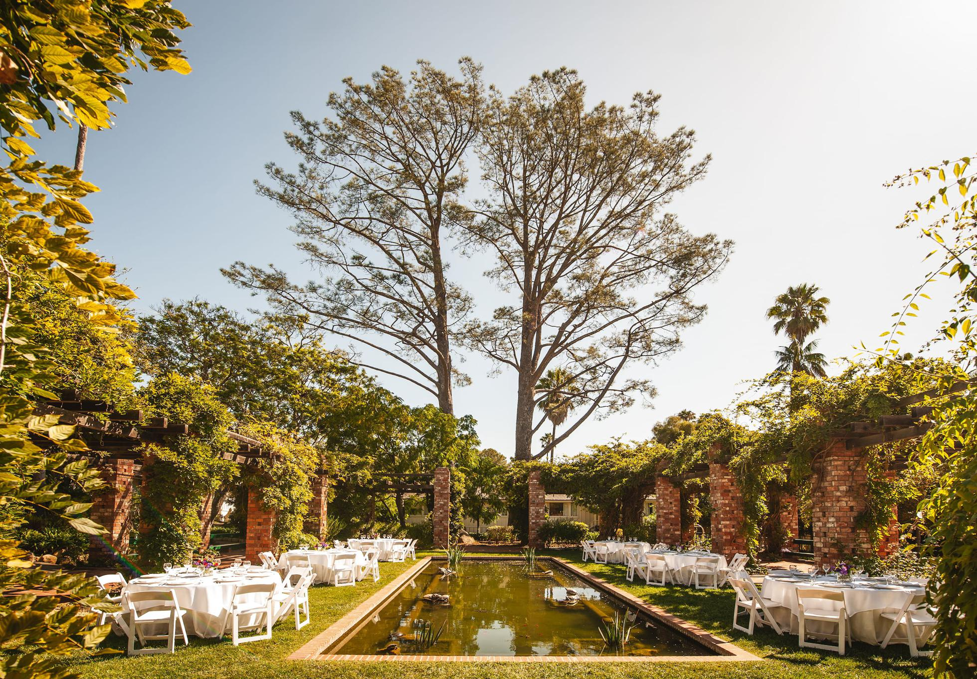 Filled with butterflies, the Arbor and Lily Ponds provide a serene escape for beautiful weddings, al fresco.