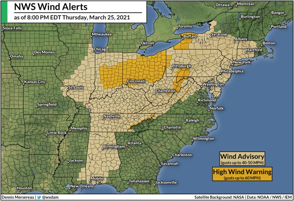 A map of wind alerts from the National Weather Service as of 8:00 PM EDT on March 25 2021.