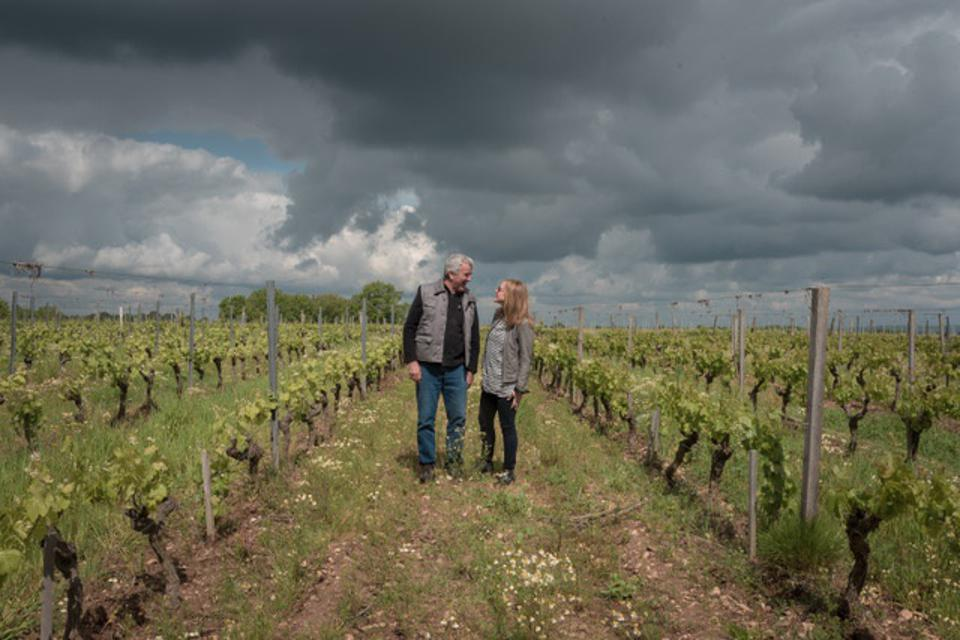 Chateau Plaisance owner Marc Penavayre with importer Laine Boswell in his vineyard.