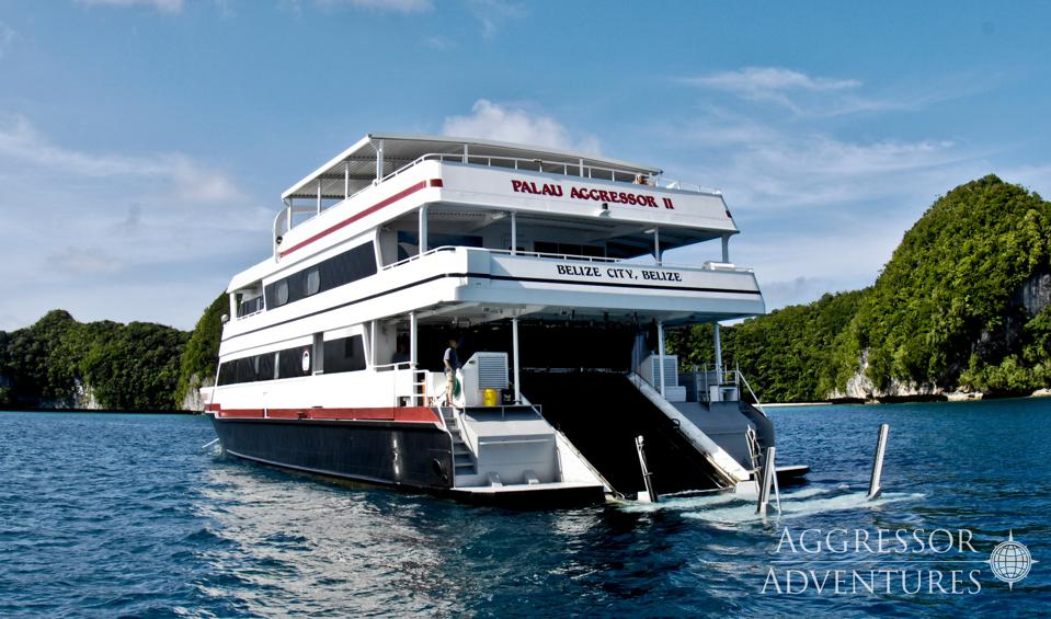 The three-storyy yacht is open at the stern with a ramp leading down to a small floating dock for divers to easily get in and out of the water.