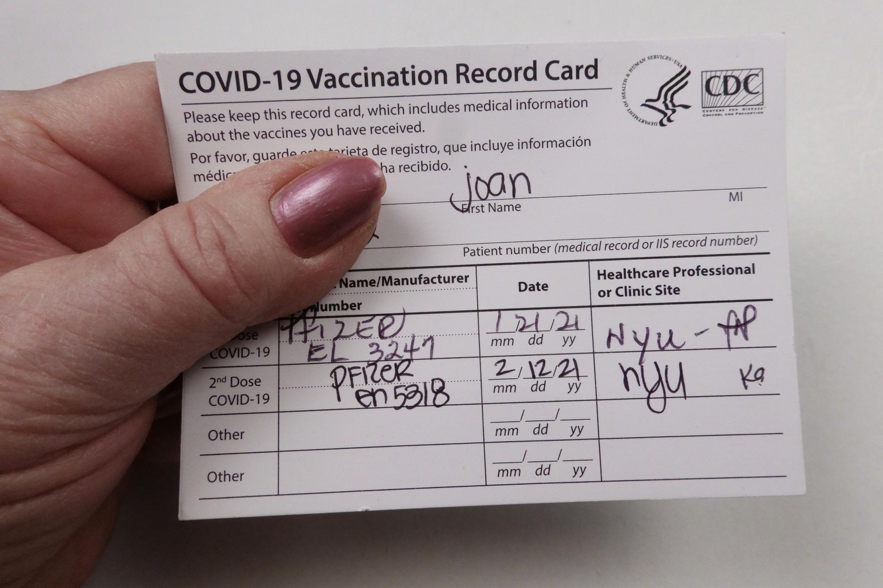 Covid 19 vaccinated record card