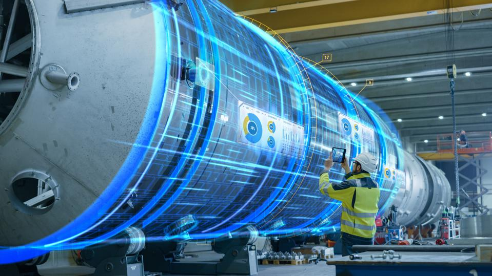 Special effects show the visualization and digitalization of an oil, gas and fuel transport pipeline.
