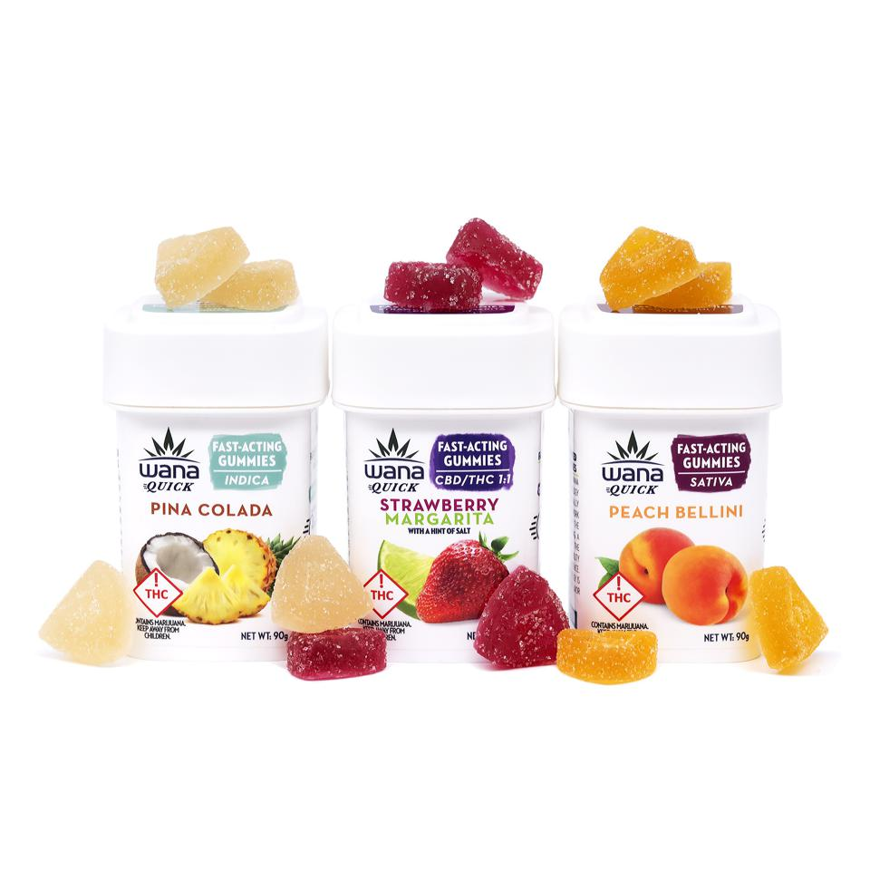 A collection of Wana Brands fast-acting cannabis gummies.