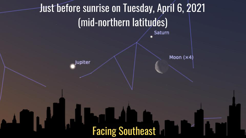 Tuesday, April 6, 2021: A crescent Moon close to Saturn