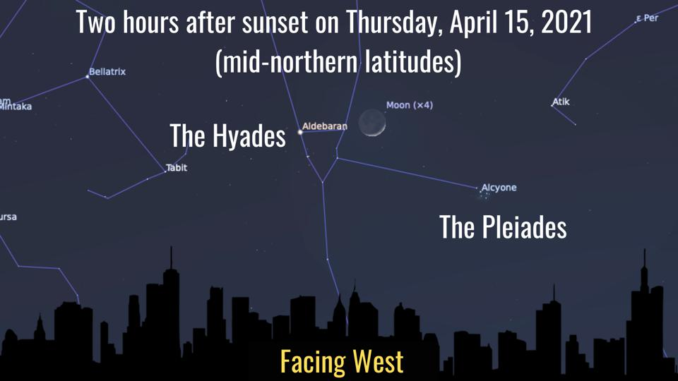 Thursday, April 15, 2021: Moon between Pleiades and Hyades