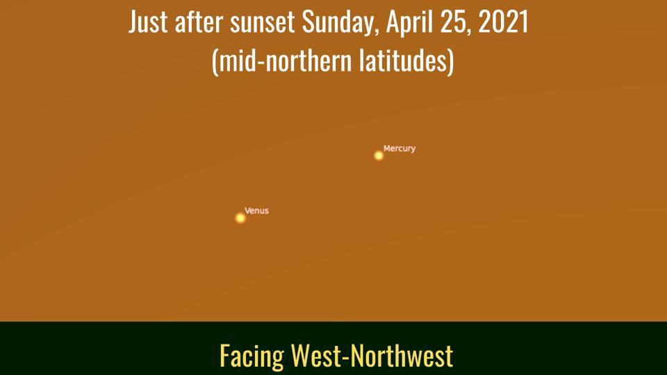 Domingo 25 de abril de 2021: Venus y Mercurio están estrechamente relacionados