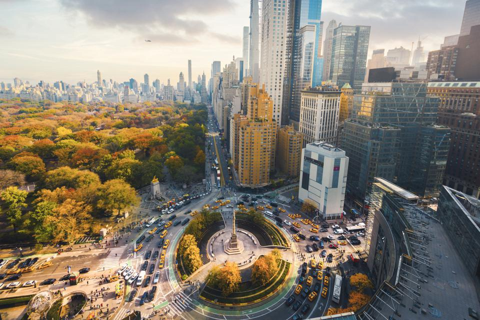 Central Park and 59th Street high angle view, New York City, USA