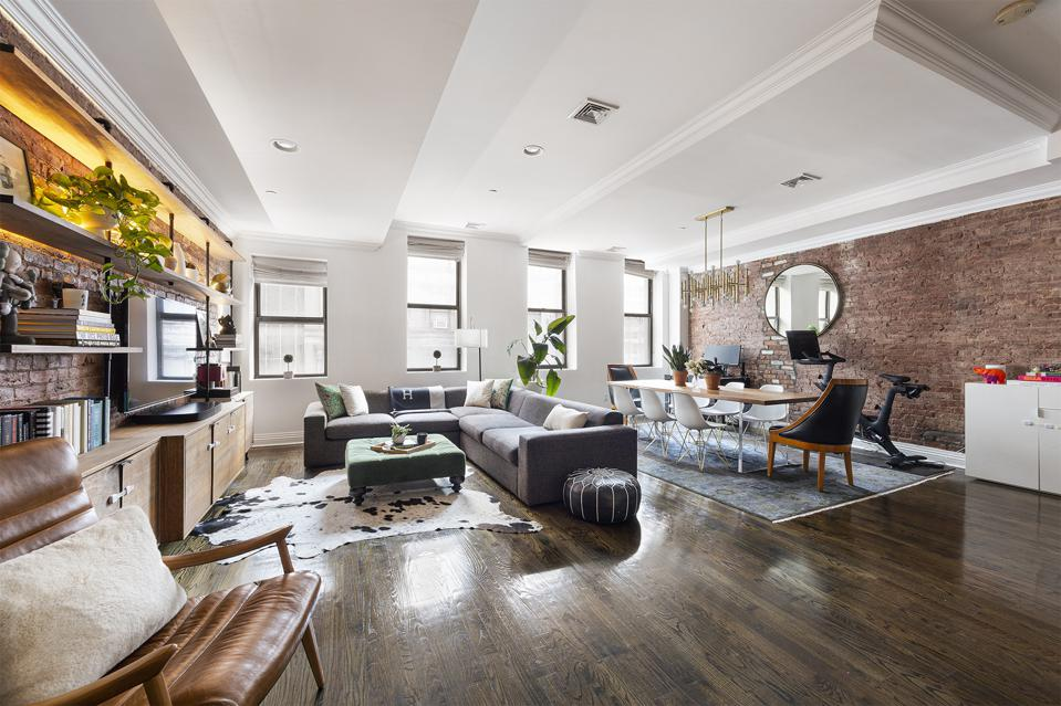 living room tribeca apartment new york city 25 Murray Street, 4K