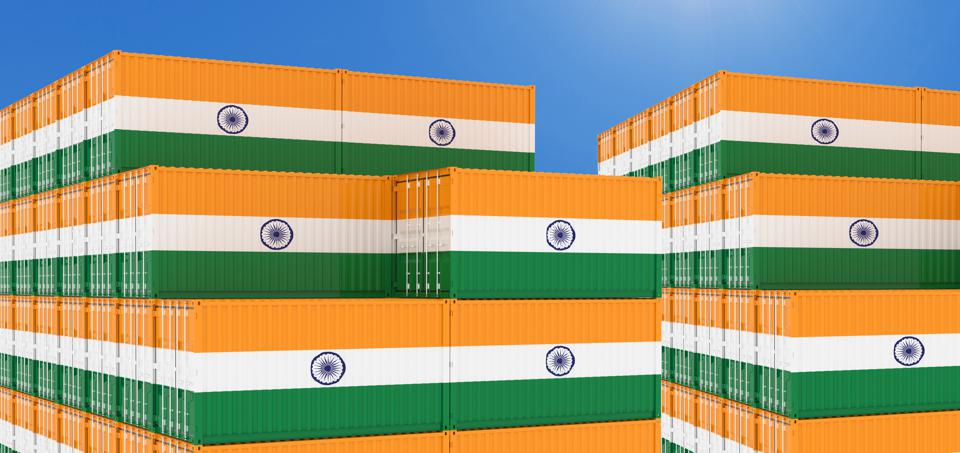 Container yard full of containers with flag of India.