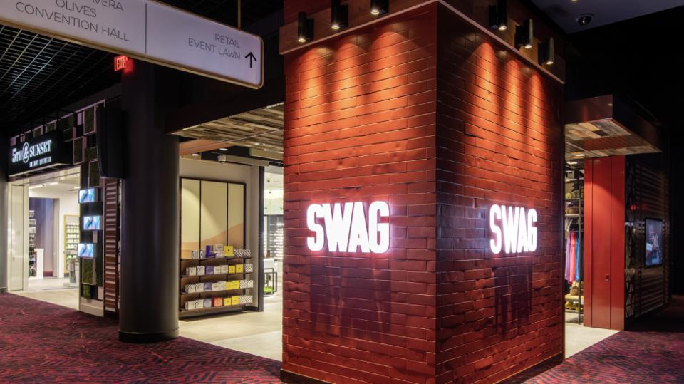 Exterior of Hudson's Swag store in Virgin Hotels Las Vegas.