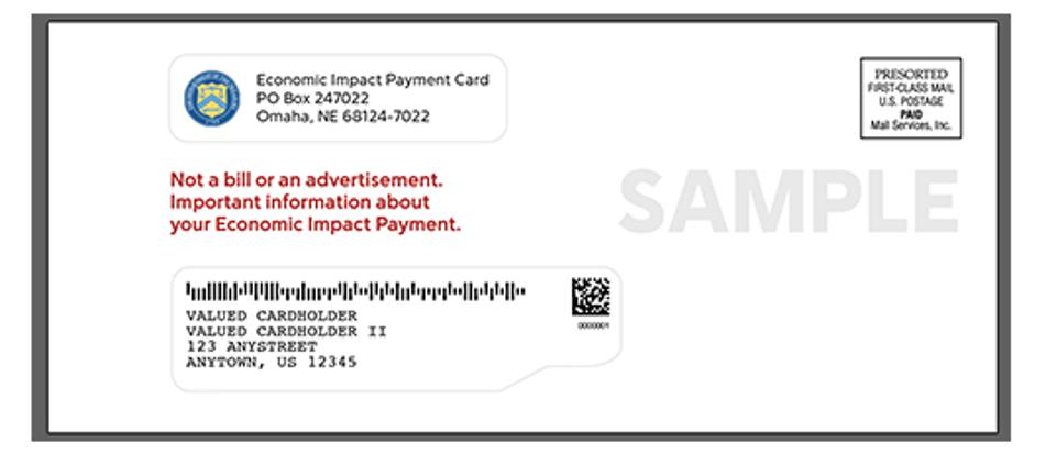 Sample white mailing envelope for Economic Impact Payment Card.