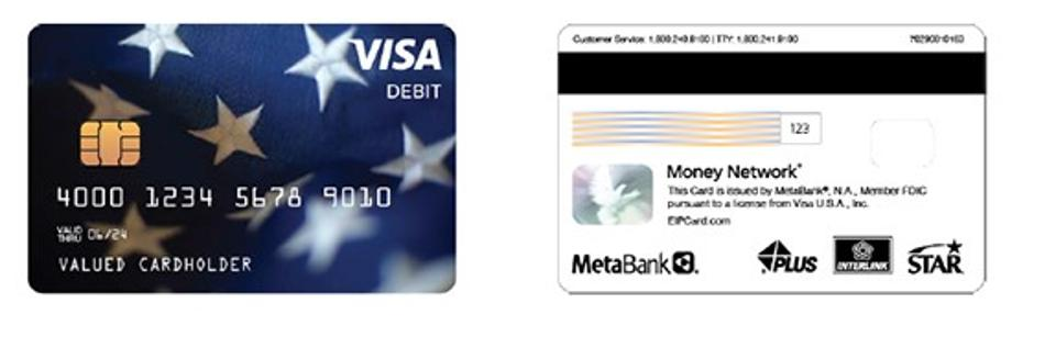 Front and back of Economic Impact Payment Card. Front of card is blue with Visa logo.