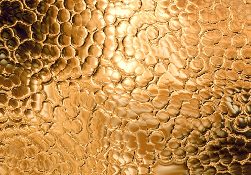 Gold Yellow Bubble Pattern Glittering Background Abstract Luxury Texture