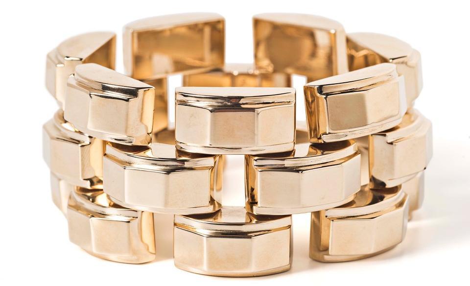 Tiffany & Co. 14k Yellow Gold Retro Tank Bracelet