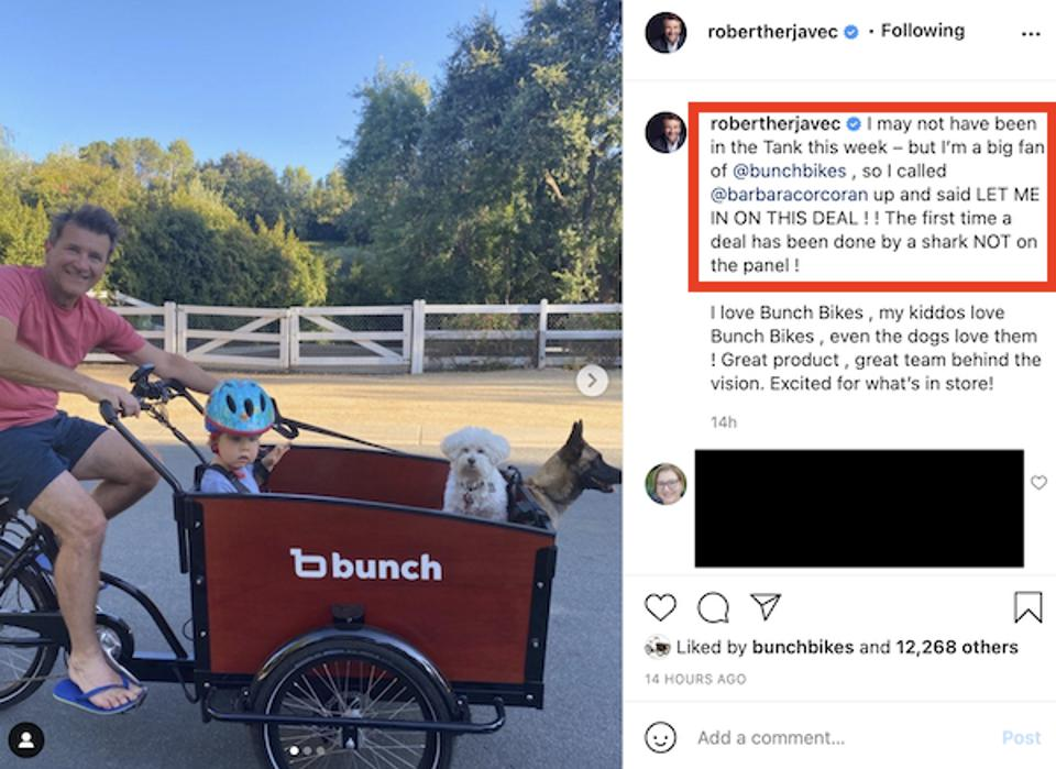 Shark Tank investor, Robert Herjavec, takes a ride on a Bunch Bike with his family.