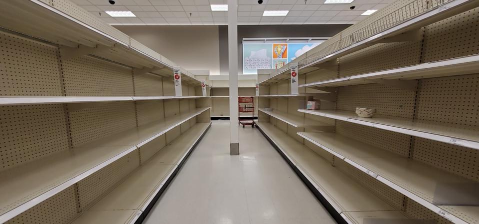 Empty shelves at a Target retail store in Contra Costa County, San Ramon, CA, at the beginning of the pandemic, in March 2020.  (Photo by Smith Collection/Gado/Getty Images)
