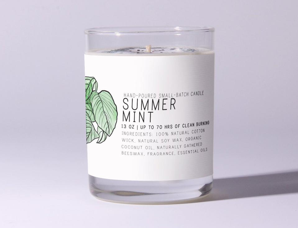 Just Bee Cosmetics Clean Candle in Summer Mint organic aromatherapy essential oils clean