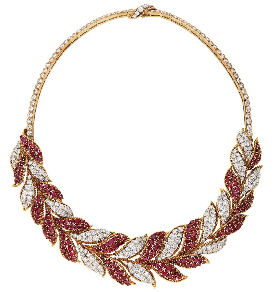 Van Cleef & Arpels ruby and diamond necklace with an estimate of $50,000 - $70,000