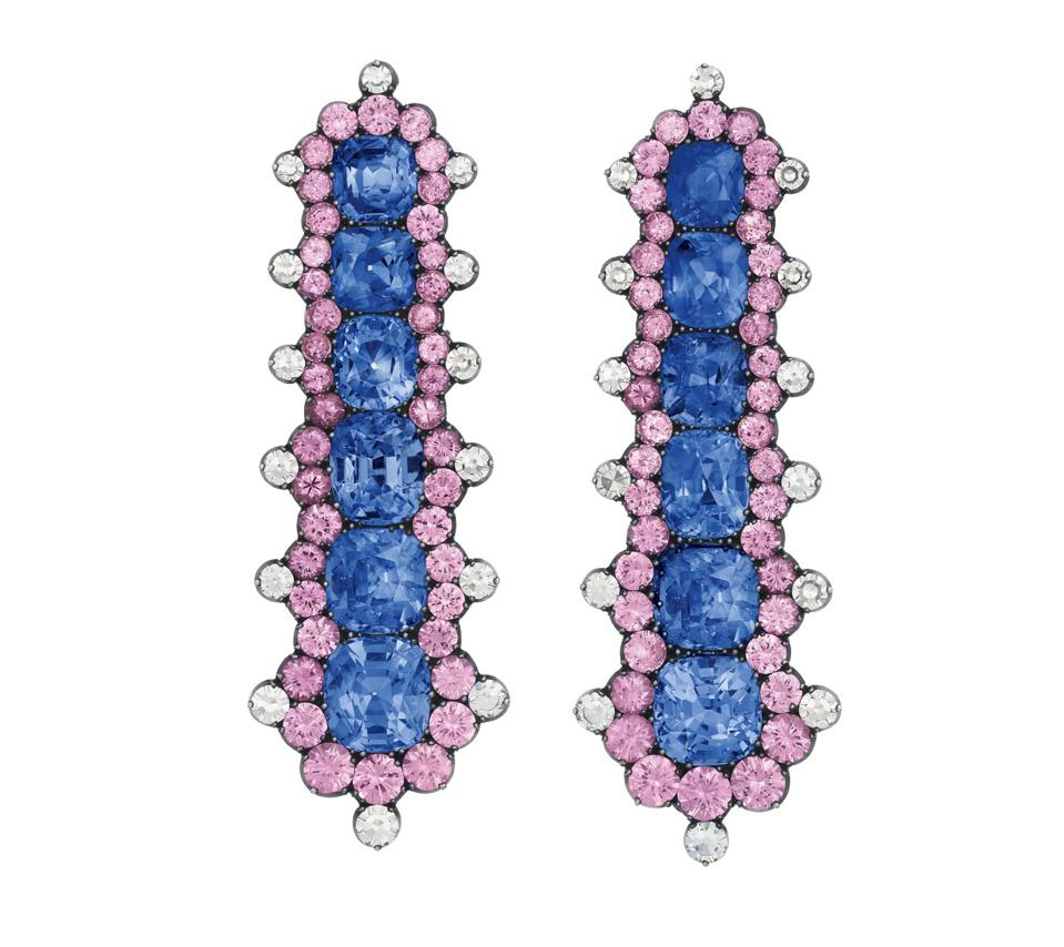 JAR sapphire, pink sapphire and diamond earrings with an estimate of $80,000 - $120,000