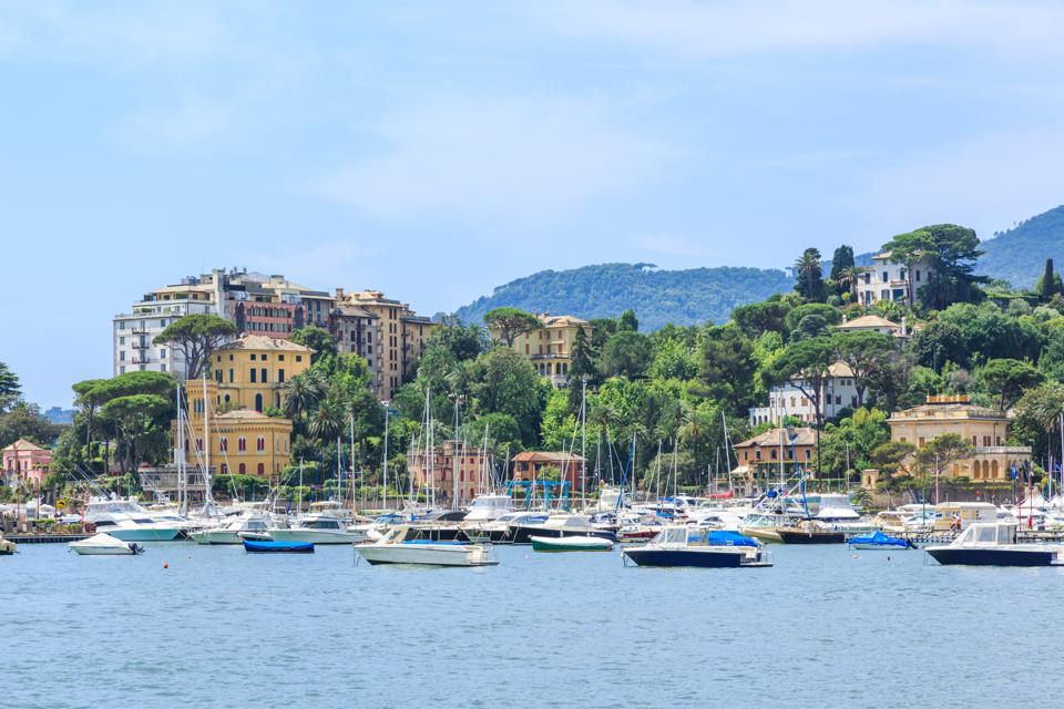 Italian old town Rapallo sea view